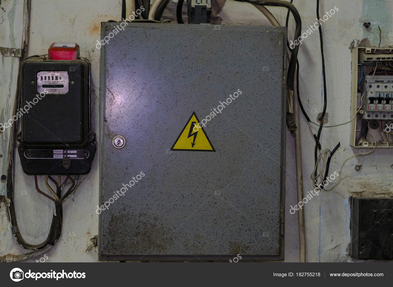 Wall-mounted electric board with electric meter. — Stock Photo ...