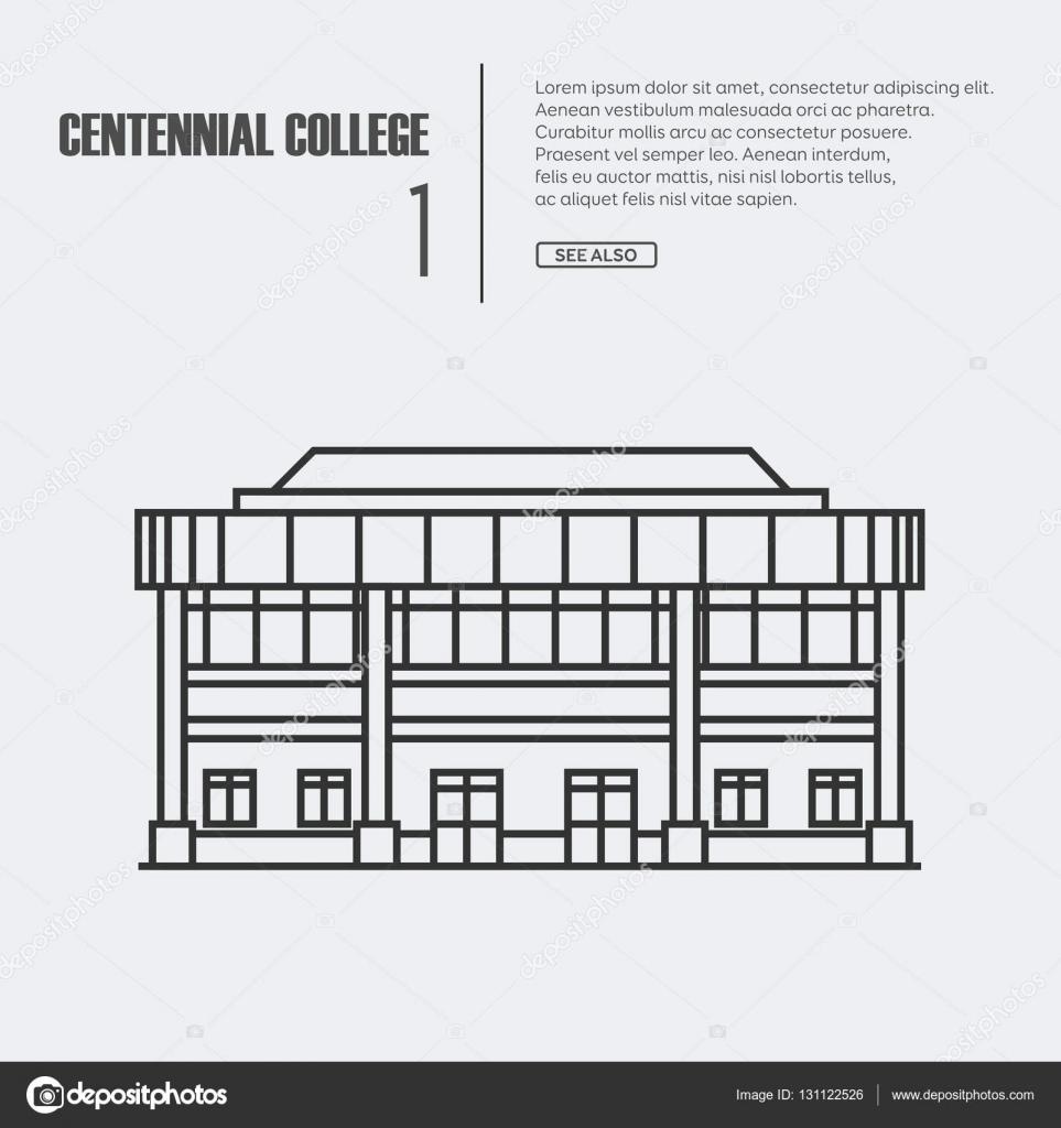Fachada De Hospital Para Colorear Ilustración De Vector