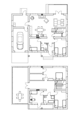 Suburban house. Black and White floor plans of a modern apartment. Vector interior design. Architectural background.
