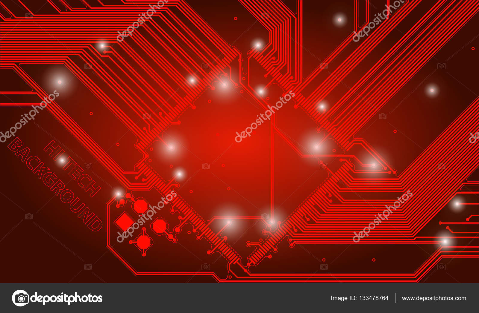 Abstract High Tech Red Background With A Circuit Board Texture  Vector Technological