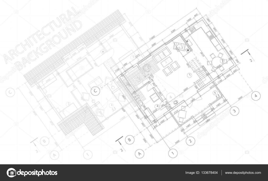 Architectural Background Vector Blueprint Detailed Floor Plans