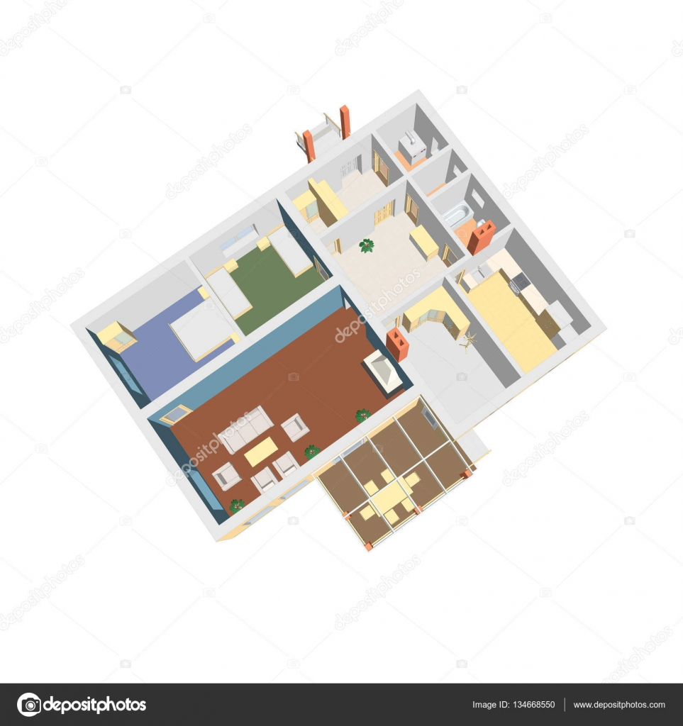 Plan détage 3d illustration vectorielle intérieur de lappartement architecture 3d illustration