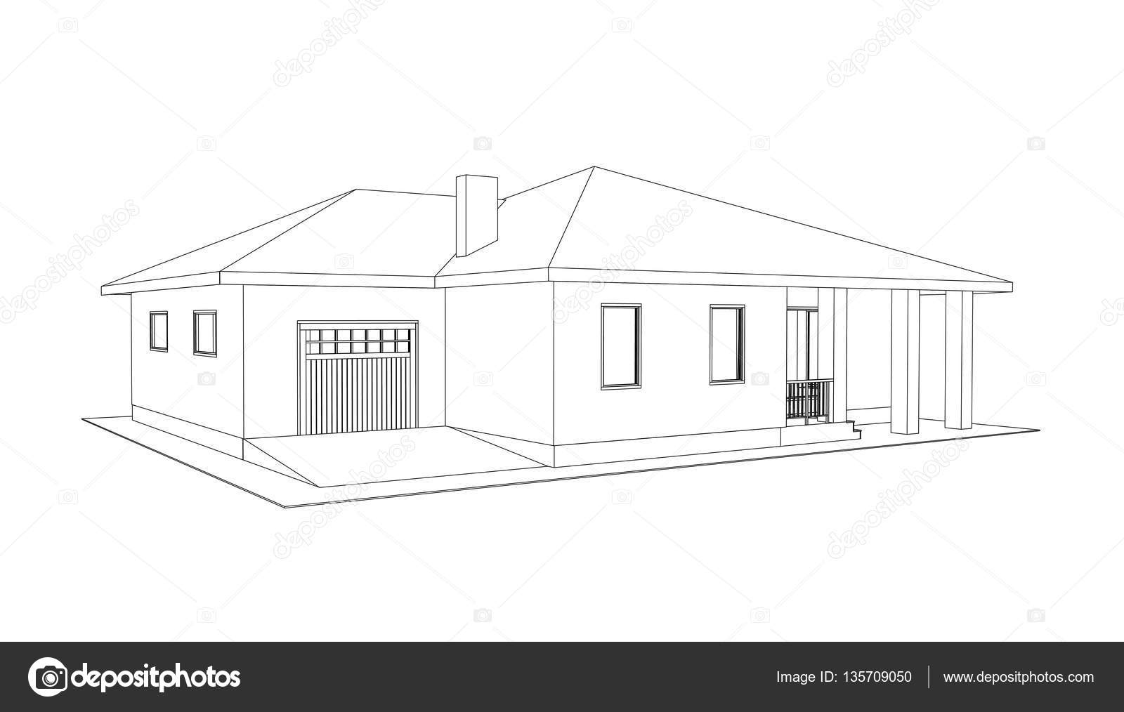 Building Perspective 3D. Drawing Of The Suburban House. Outlines Cottage On  White Background. House 3D Model Perspective Vector. Cottage Blueprint. EPS  10.