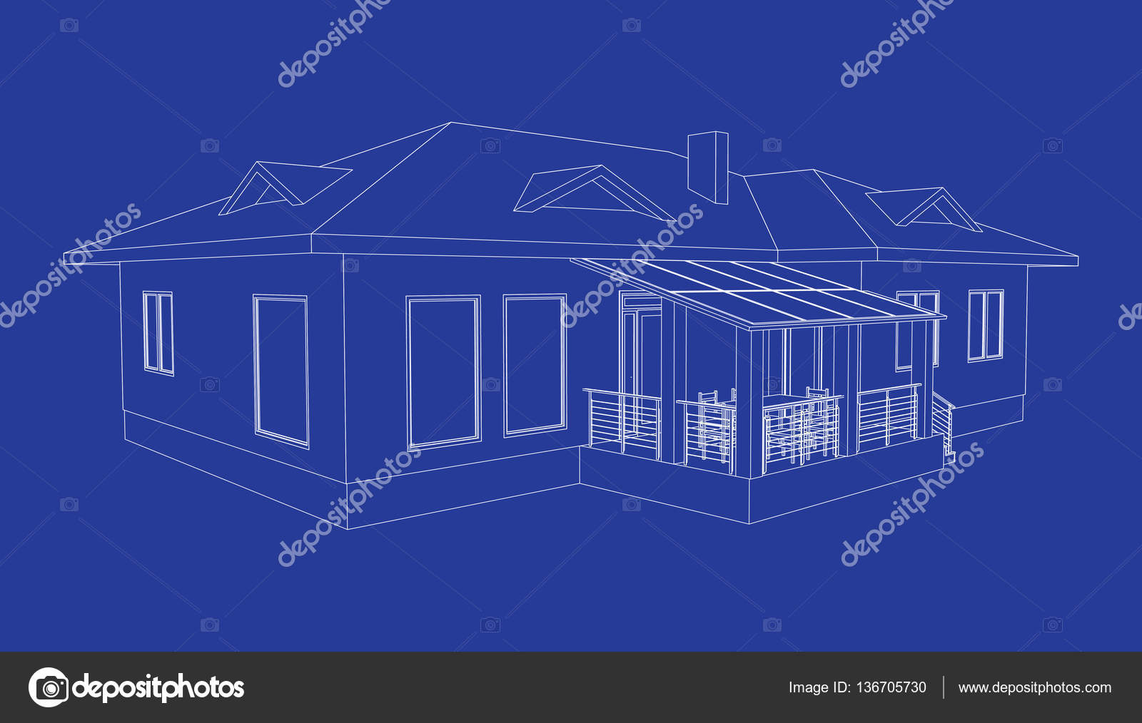 Building perspective 3d drawing of the suburban house outlines building perspective 3d drawing of the suburban house outlines cottage on blue background house 3d model perspective vector cottage blueprint eps 10 malvernweather