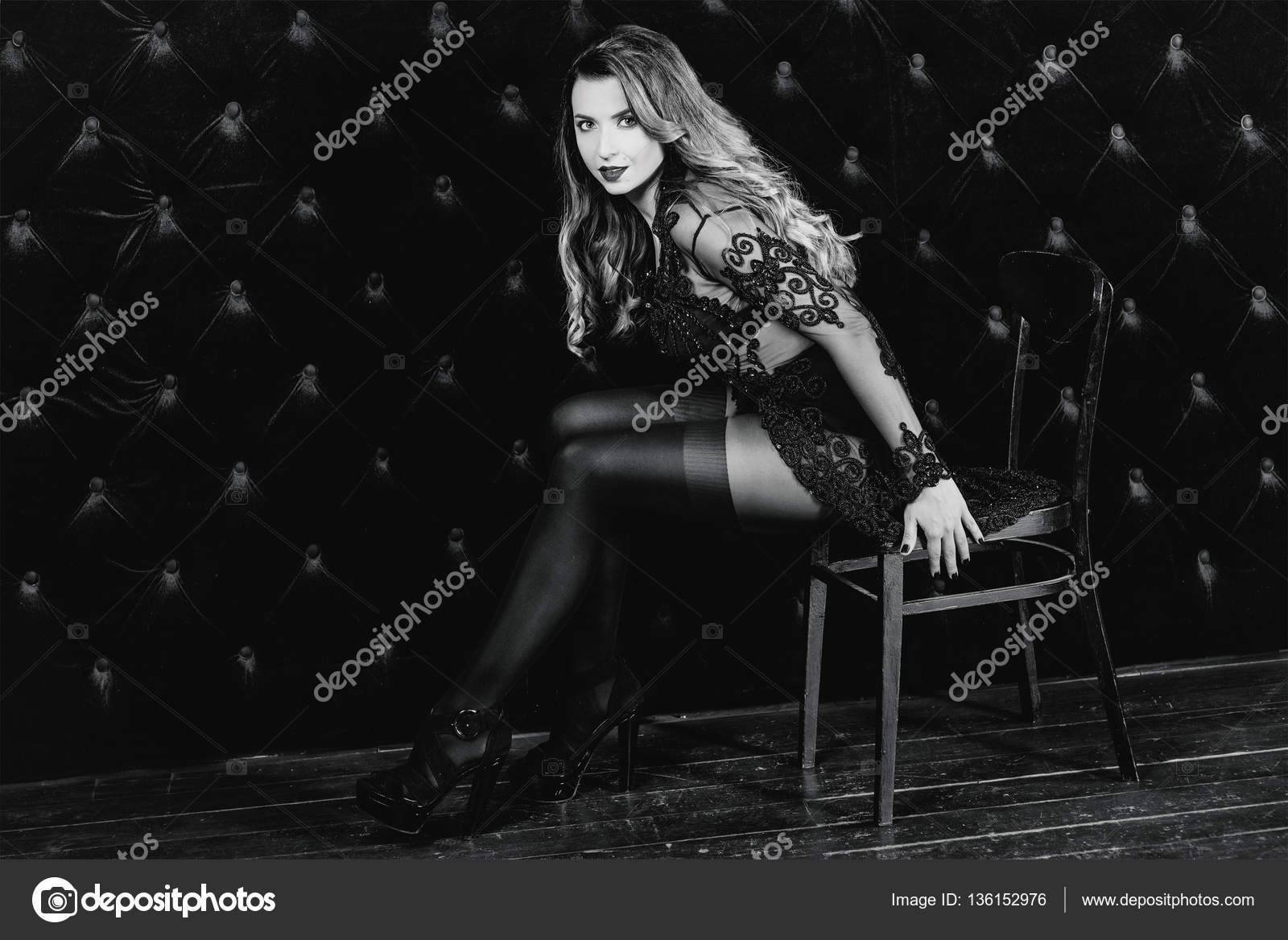 Young Beautiful Attractive And Hot Long Hair Woman In Black
