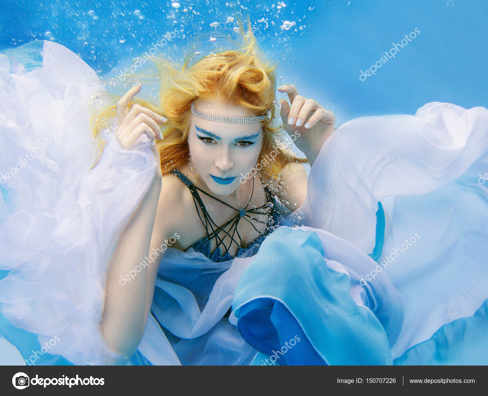 Underwater fashion portrait of beautiful blonde young woman
