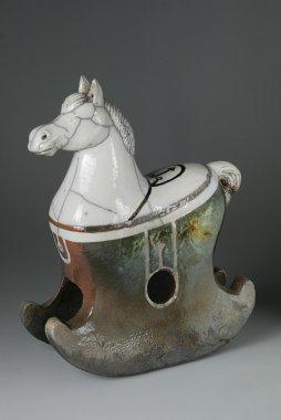Horse Sculpture in Japanese raku technique