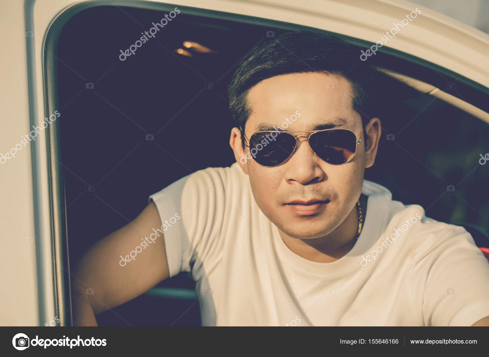 Portrait Of Young Man Sitting In Car. U2014 Stock Photo