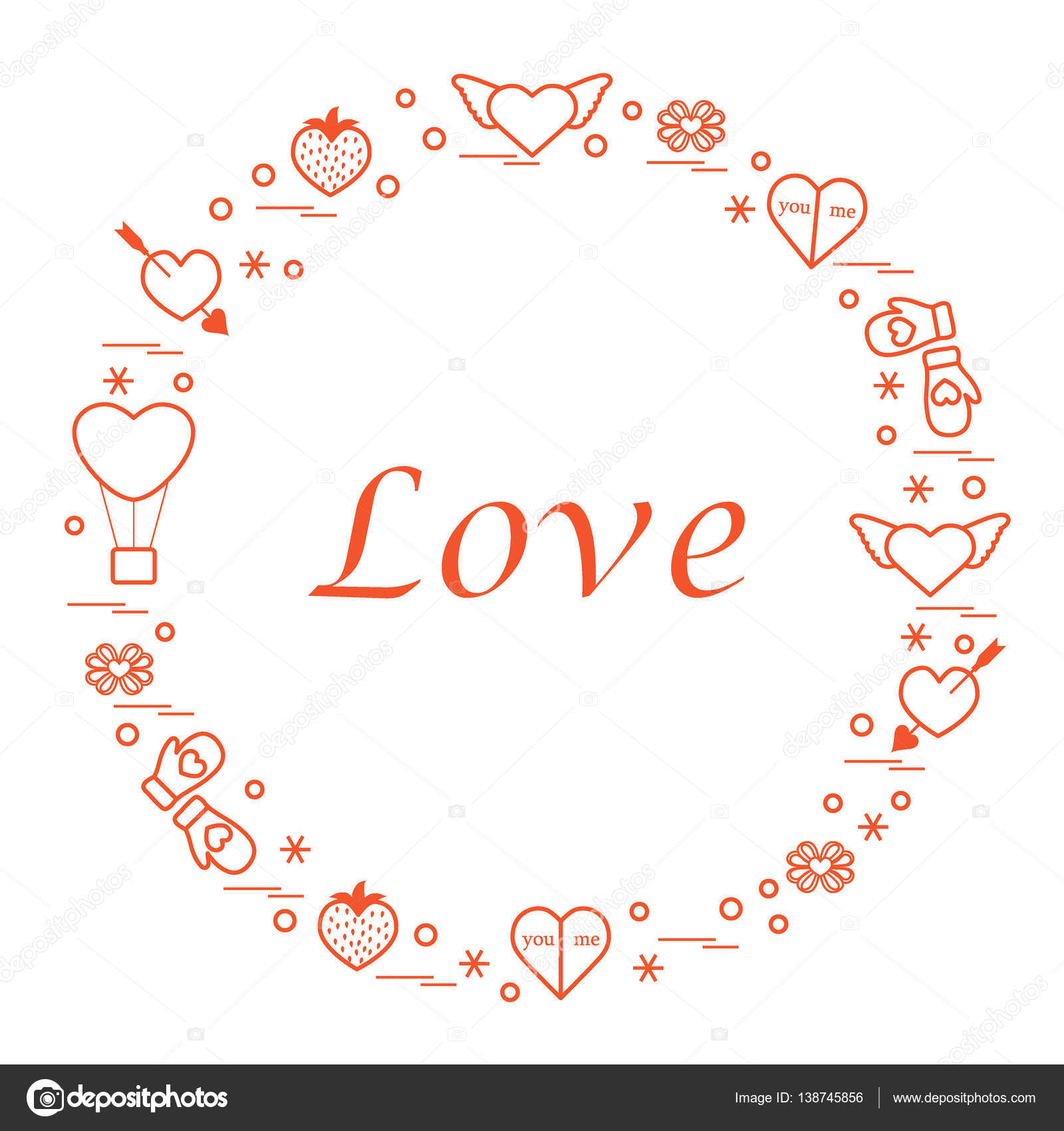 Cute vector illustration with different romantic symbols arrange cute vector illustration with different romantic symbols arrange stock vector buycottarizona Images