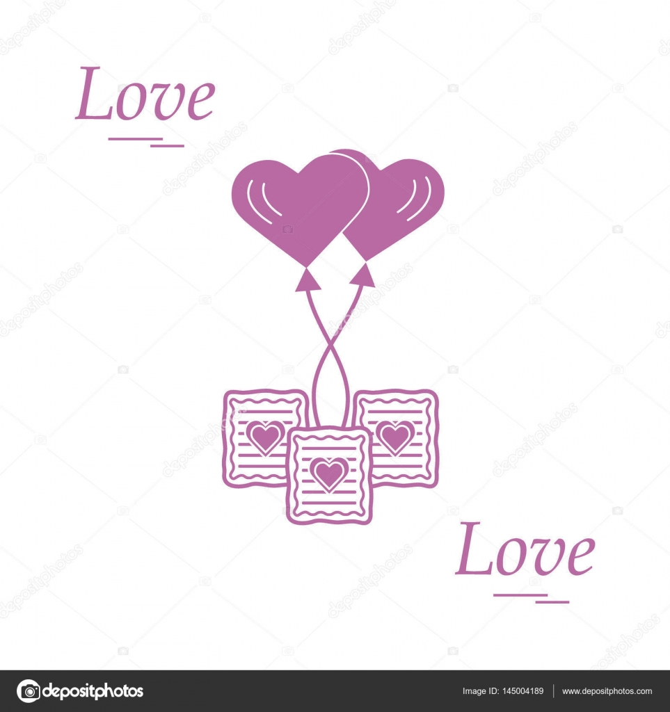 Cute vector illustration of love symbols heart air balloon icon cute vector illustration of love symbols heart air balloon icon and three cookies romantic collection design for banner flyer poster or print buycottarizona Images