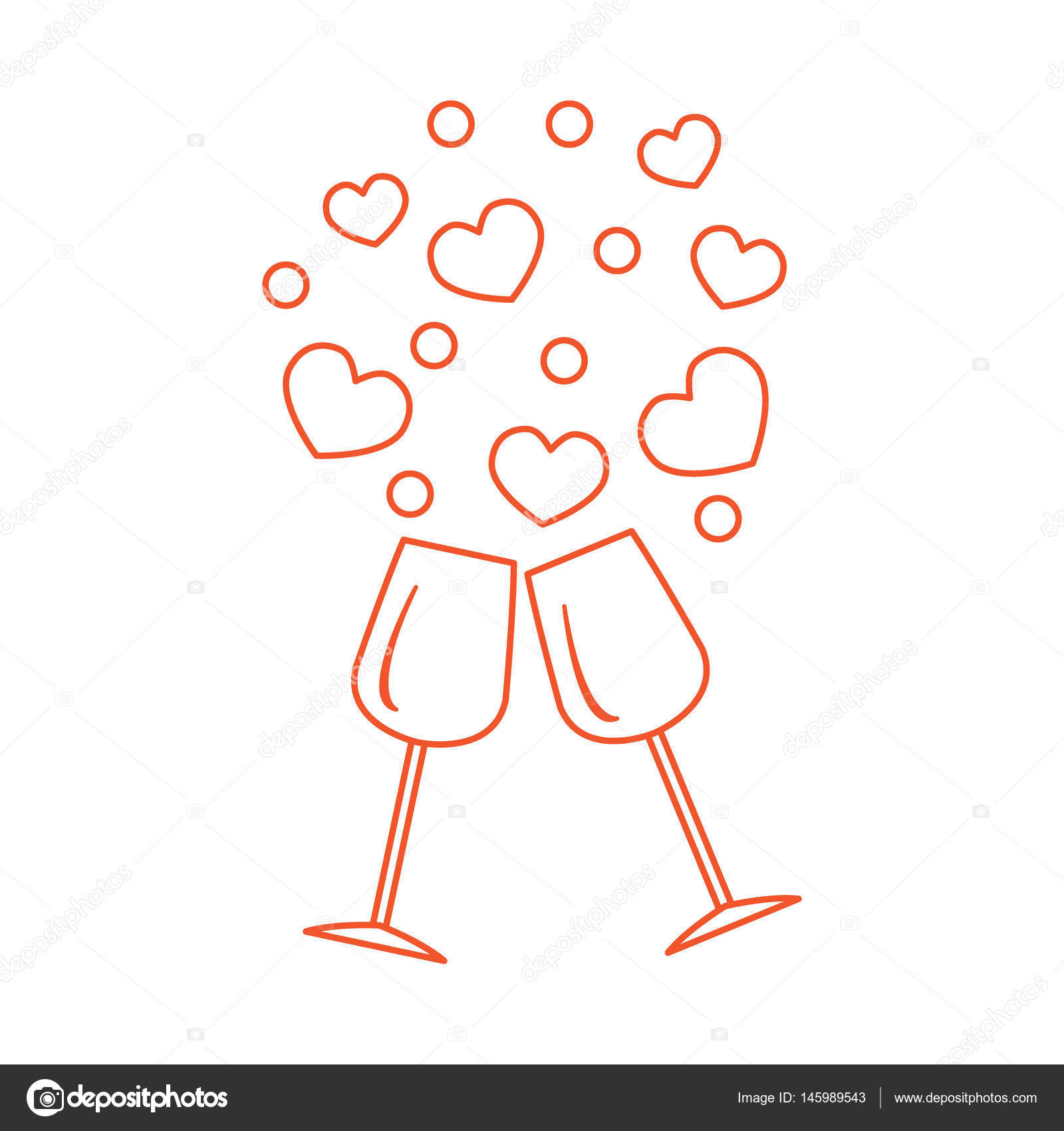 Cute vector illustration of two stemware with hearts greeting c cute vector illustration of two stemware with hearts design for banner flyer poster or print greeting card valentines day biocorpaavc