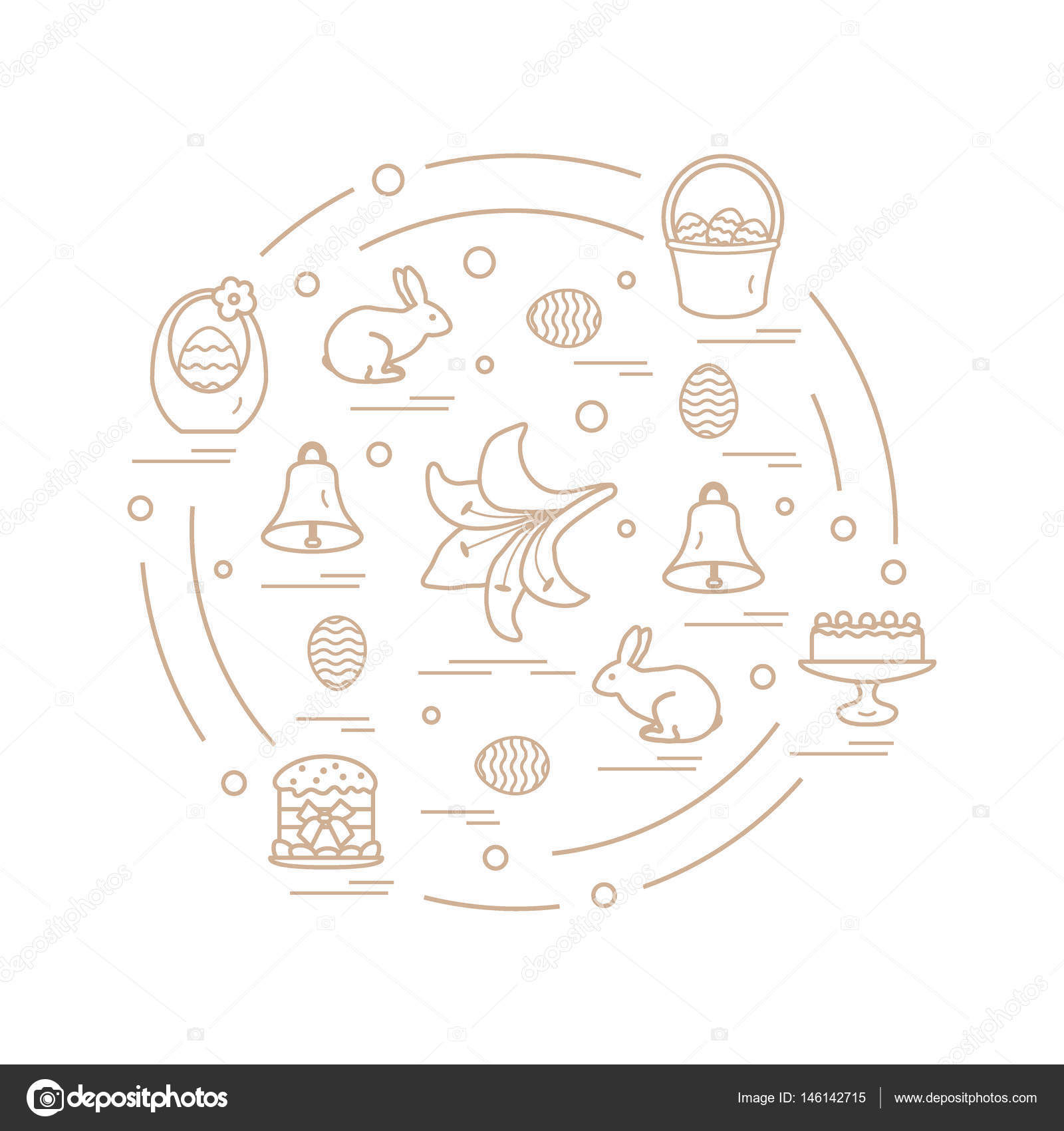 Cute vector illustration with different symbols for easter arran cute vector illustration with different symbols for easter arranged in a circle including icons of simnel cake lily baskets eggs and other buycottarizona