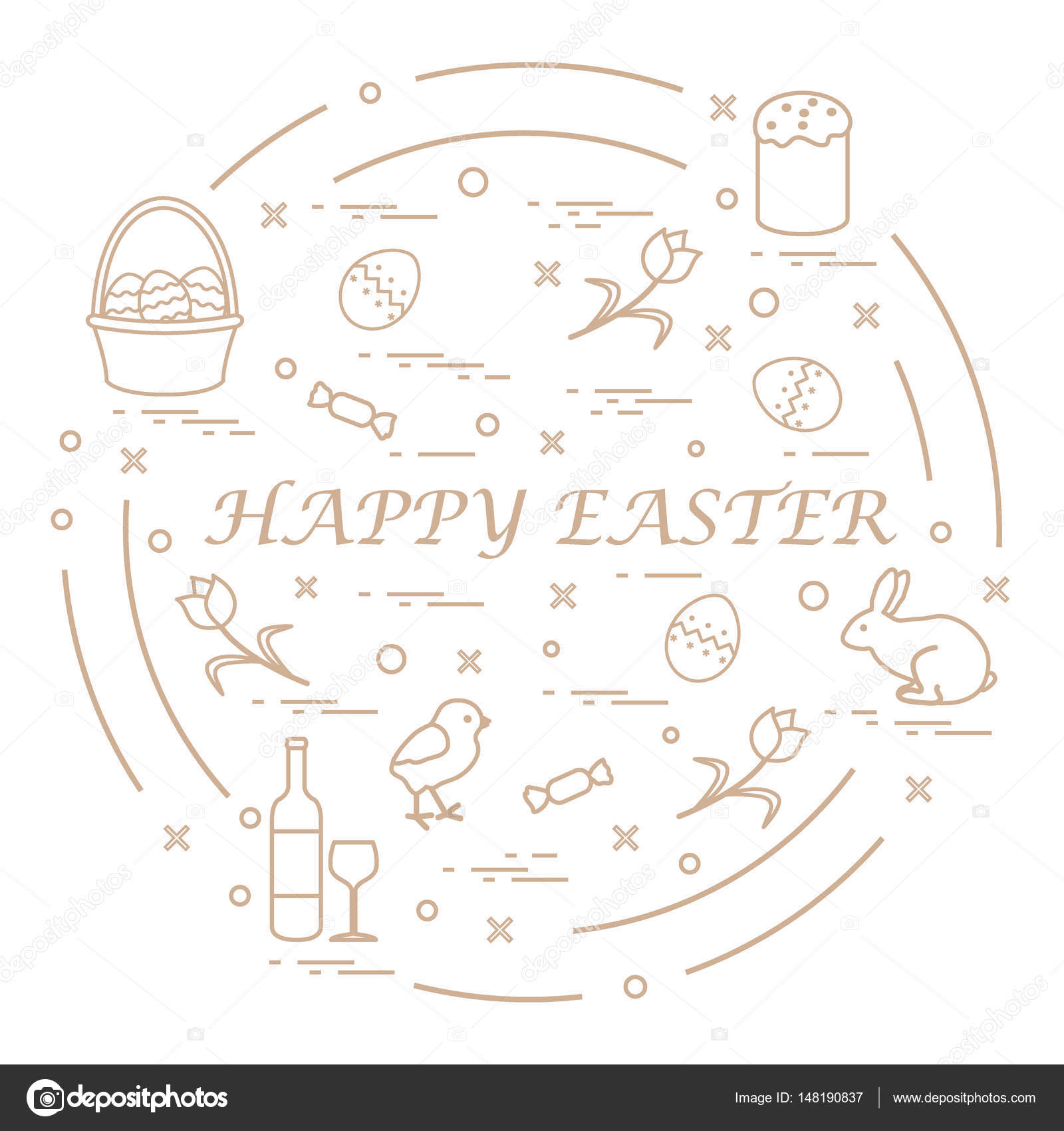 Cute vector illustration with different symbols for easter arran cute vector illustration with different symbols for easter arranged in a circle including icons of easter cake chick baskets eggs and other buycottarizona