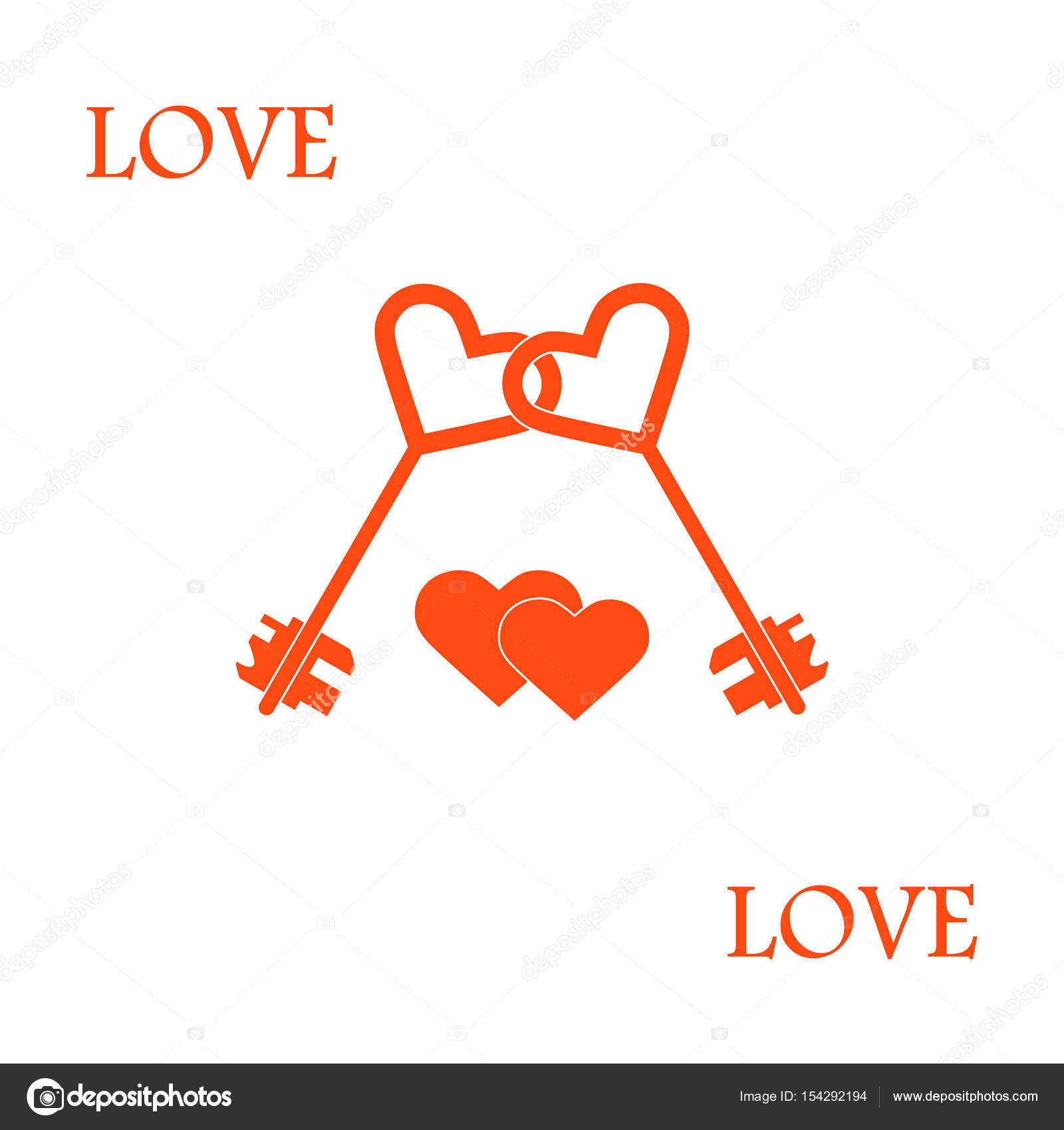 Cute vector illustration of love symbols heart key icon and two cute vector illustration of love symbols heart key icon and two hearts romantic collection design for banner flyer poster or print biocorpaavc