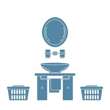 Cute vector illustration with variety bathroom elements: mirror,