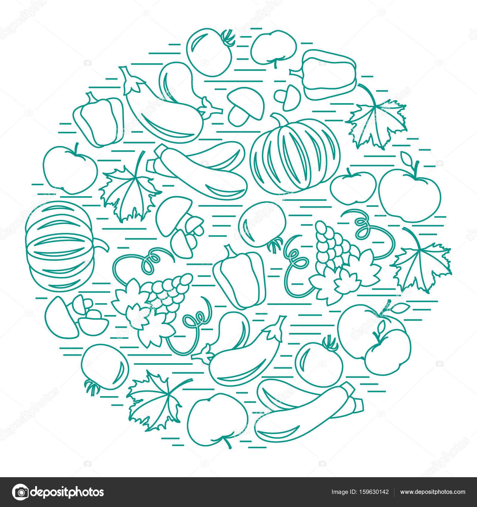 Sonbahar Mevsim Meyveleri Ve Sebzeleri Daire Kümesi Domates Stok