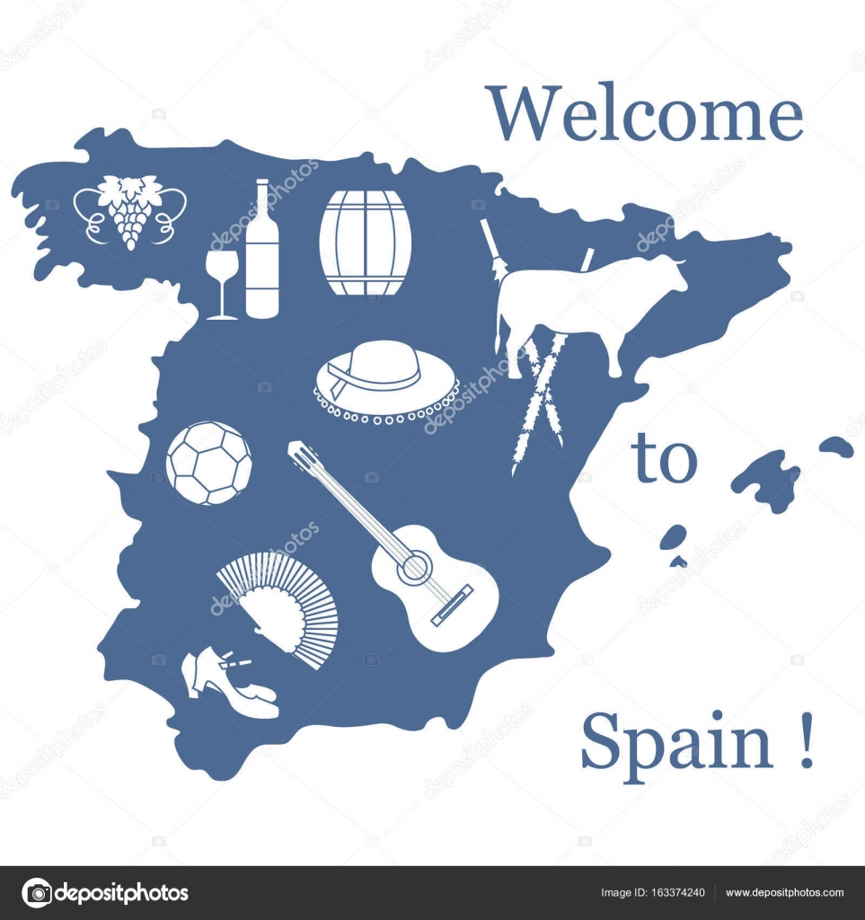 Vector illustration with various symbols of spain travel and le vector illustration with various symbols of spain travel and le stock vector buycottarizona Images