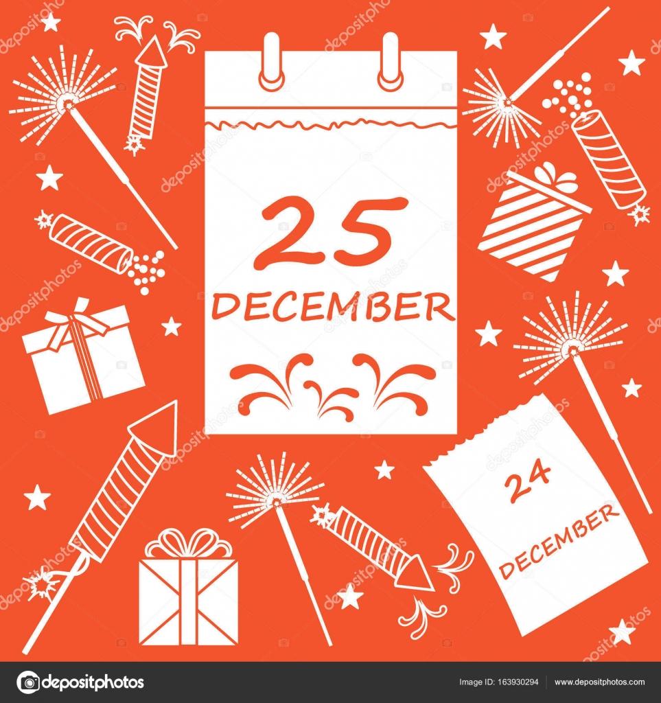 Weihnachten Datum.Vektor Illustration Kalender Mit Datum Seite Weihnachten Und