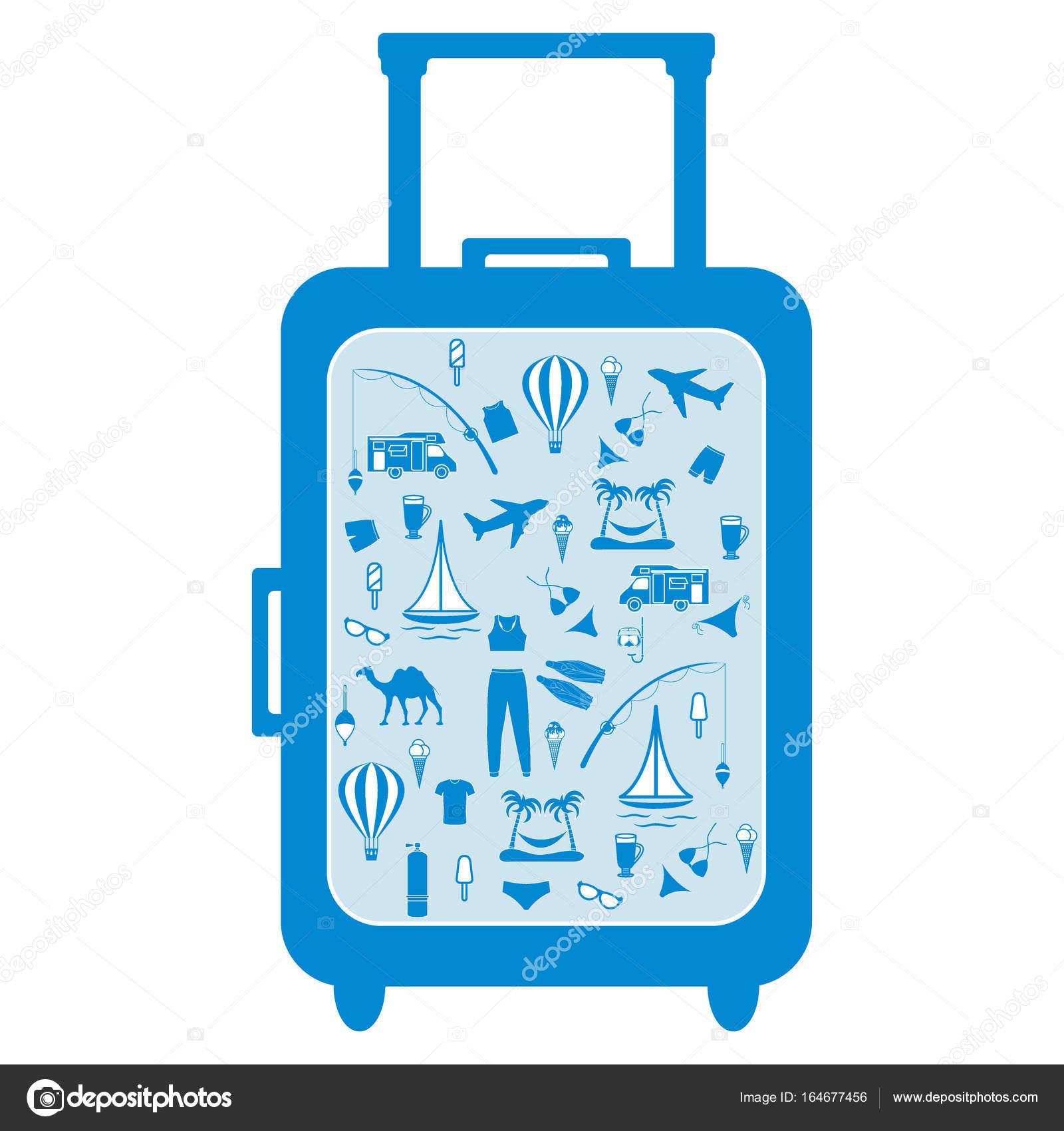 Schönes Bild von bunten Koffer mit verschiedenen Bildern auf der ...