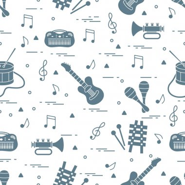 Vector pattern of sheet music and different musical toys: guitar