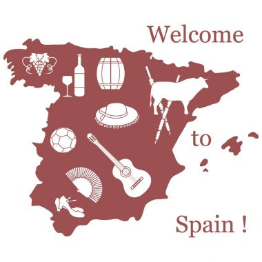 Vector illustration with various symbols of Spain. Travel and le