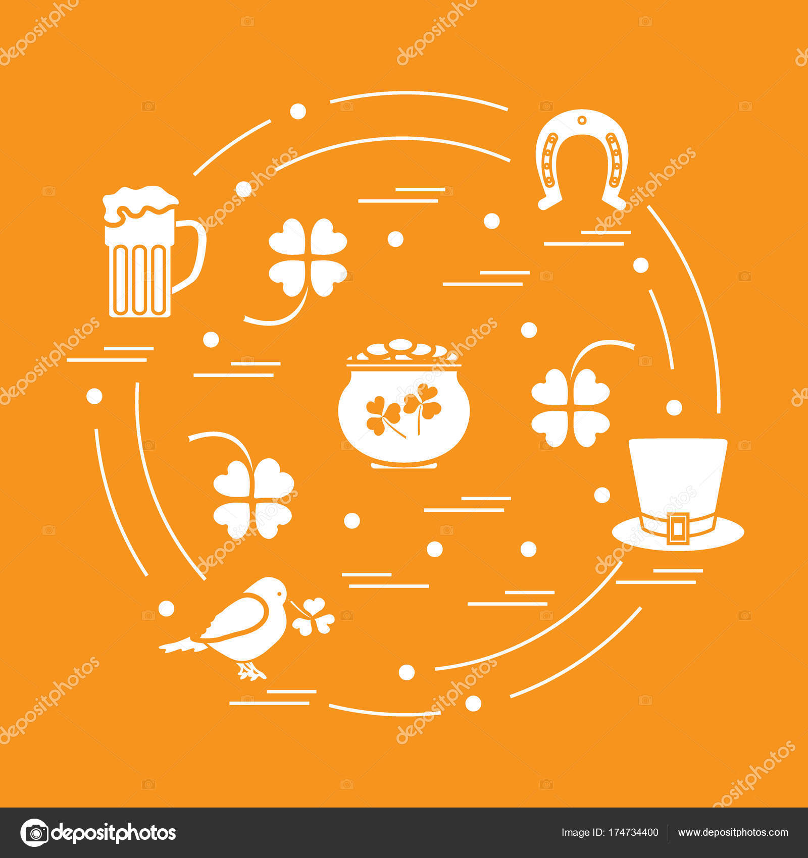 Cute Vector Illustration With Different Symbols For St Patrick