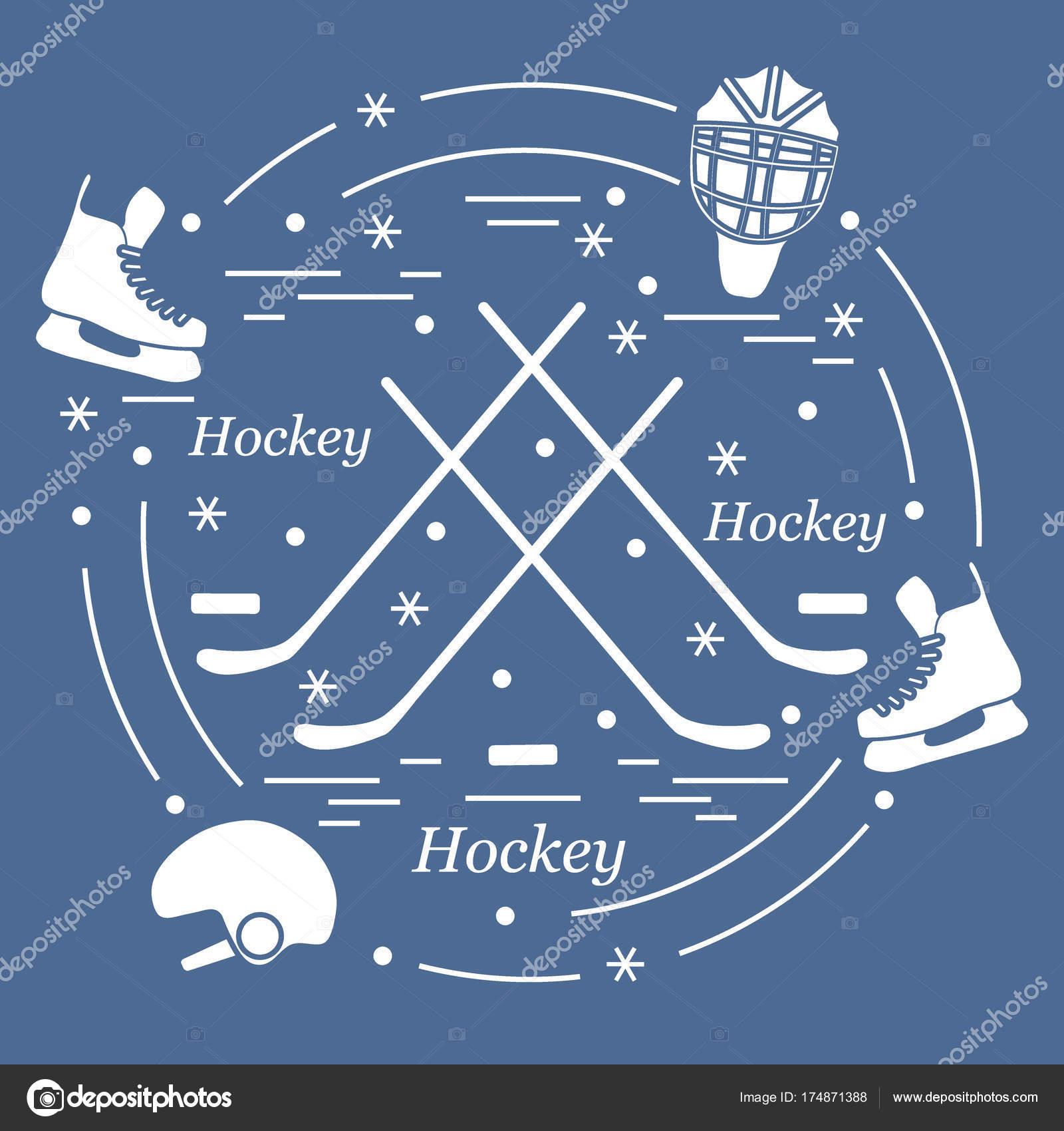 Vector ilustración de varios temas para el hockey en un — Archivo ...