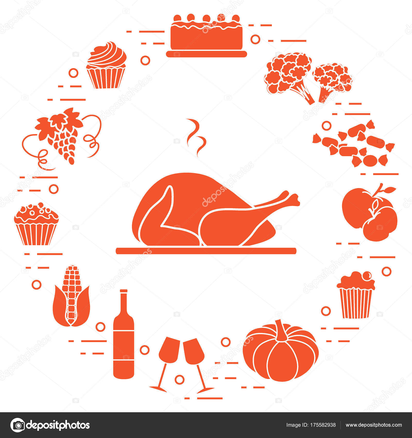 Happy Thanksgiving Cartoon Objects Fall Symbols For Print Stock