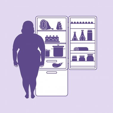 Fat woman stands at the fridge full of food. Harmful eating habi