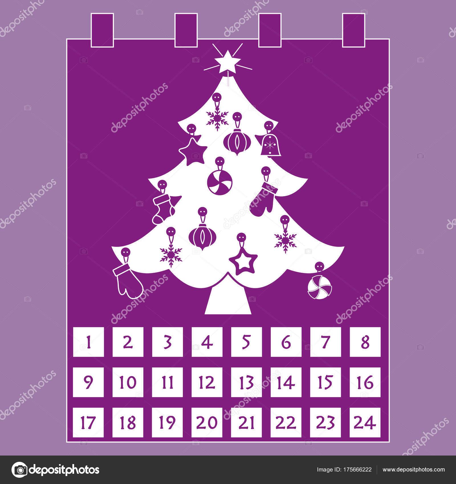 Рождественский календарь: елка с украшениями: звезда ...