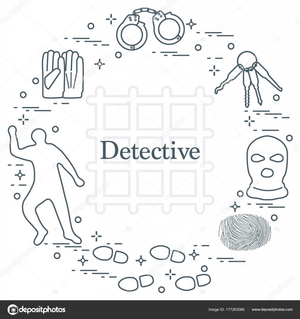 Verbrecher und Detektiv Elemente. Justiz, Kriminalität und Recht ...