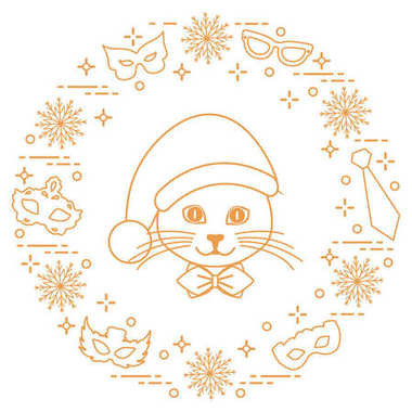 Muzzle of a cat in a Christmas hat and carnival masks, snowflake