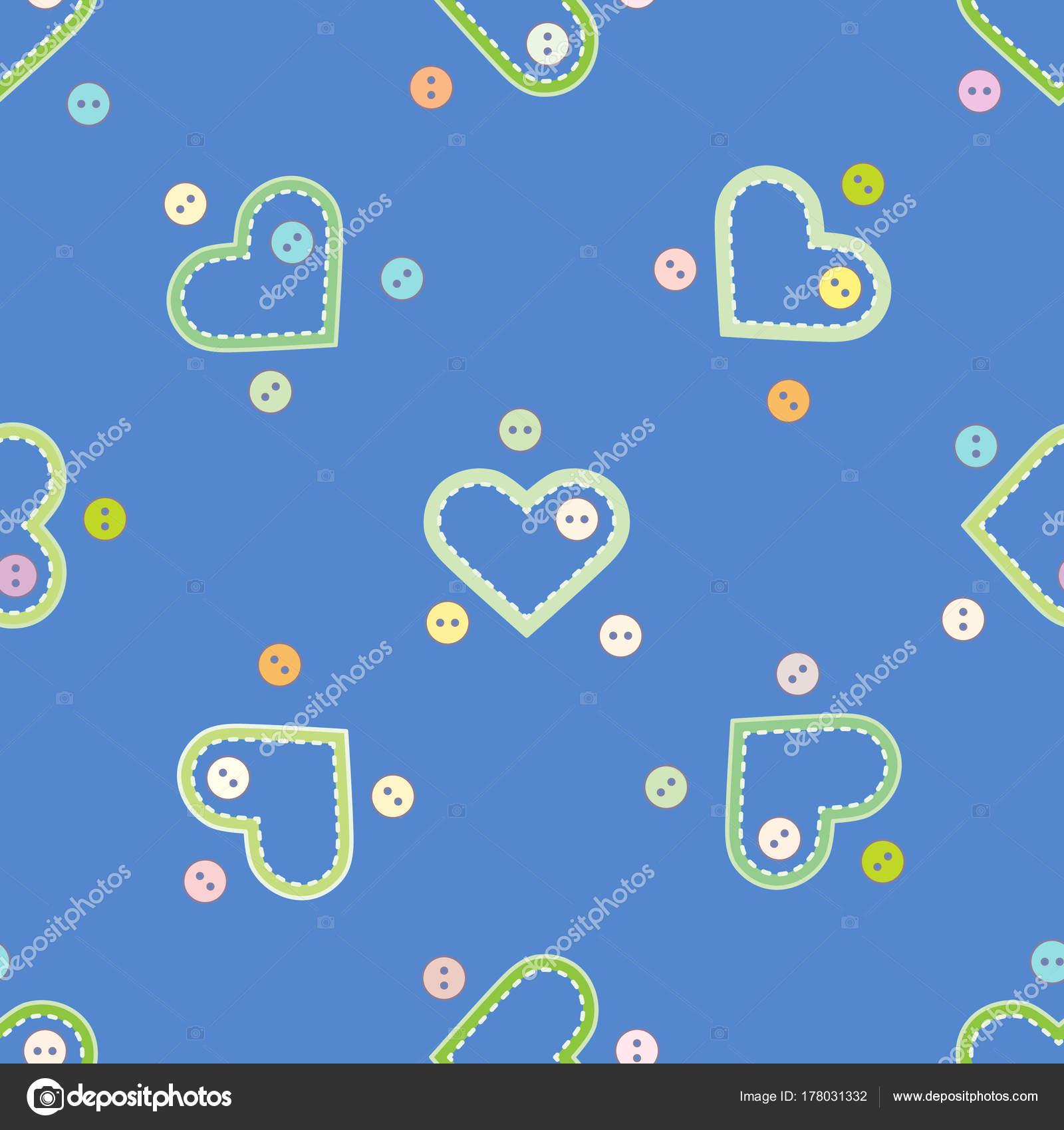 Muster mit Herzen und Knöpfen. Valentinstag — Stockvektor ...