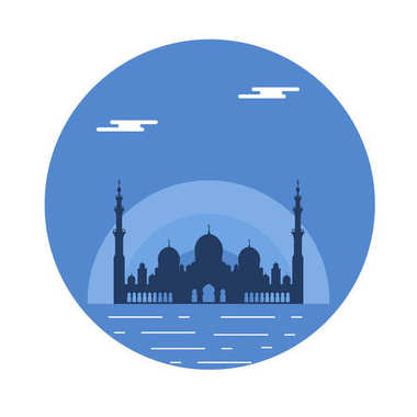 United Arab Emirates. Sheikh Zayed Mosque silhouette. Abu dhabi.