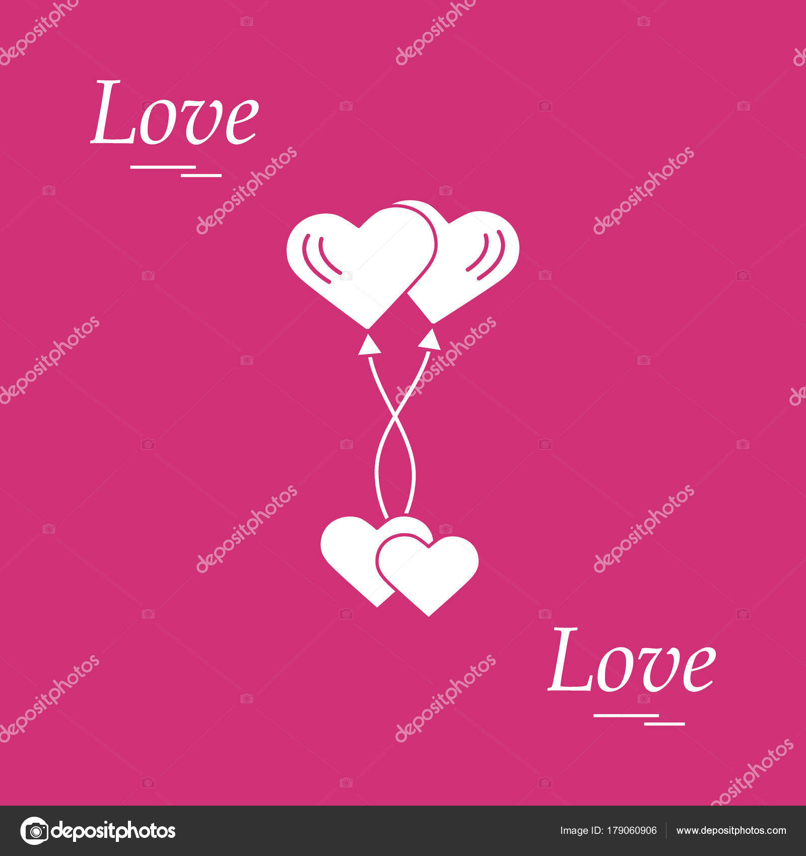 Cute Vector Illustration Of Love Symbols Heart Air Balloons Ico