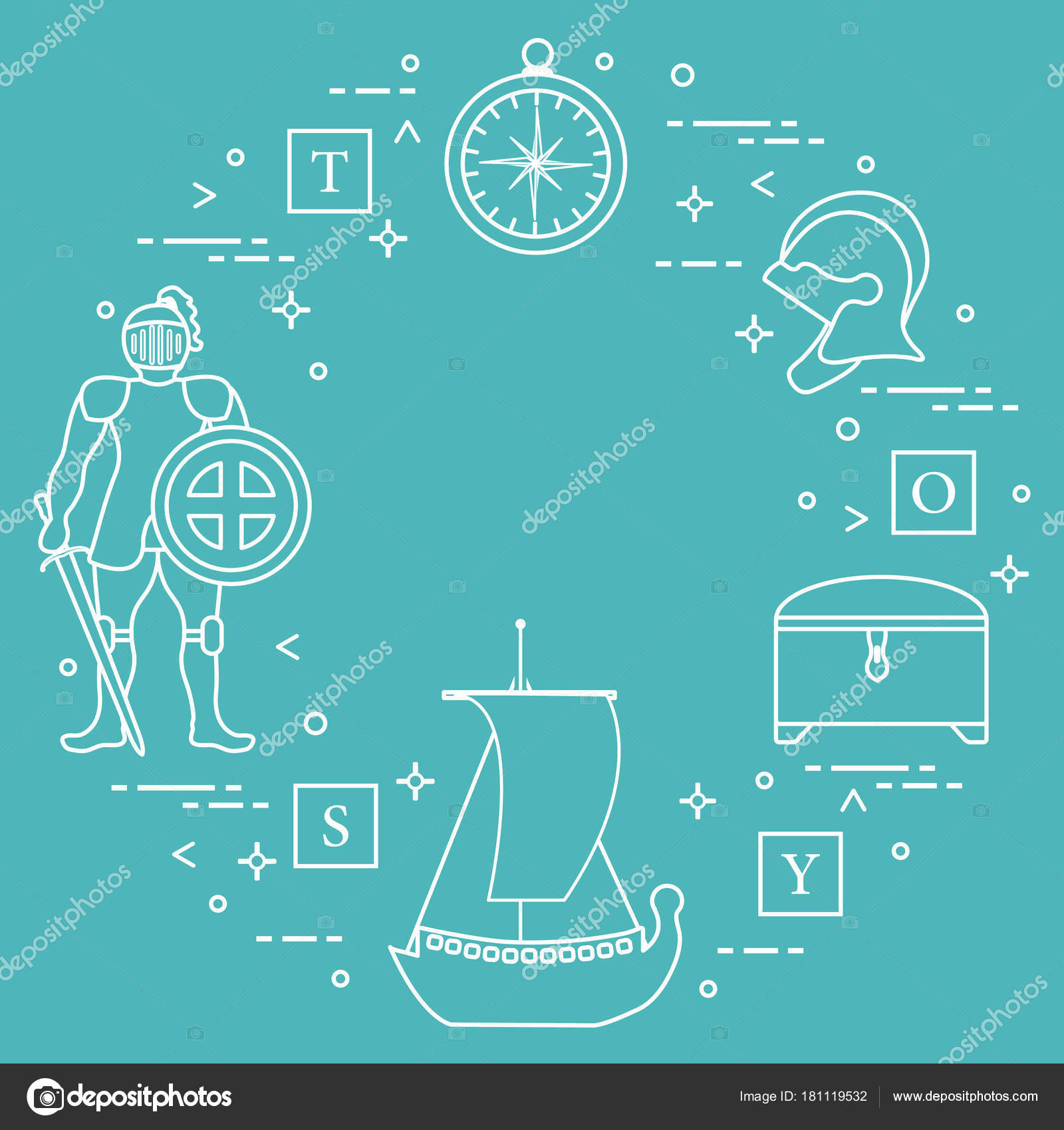Knight, shield, sword, helmets, ship and other. — Stock Vector ...