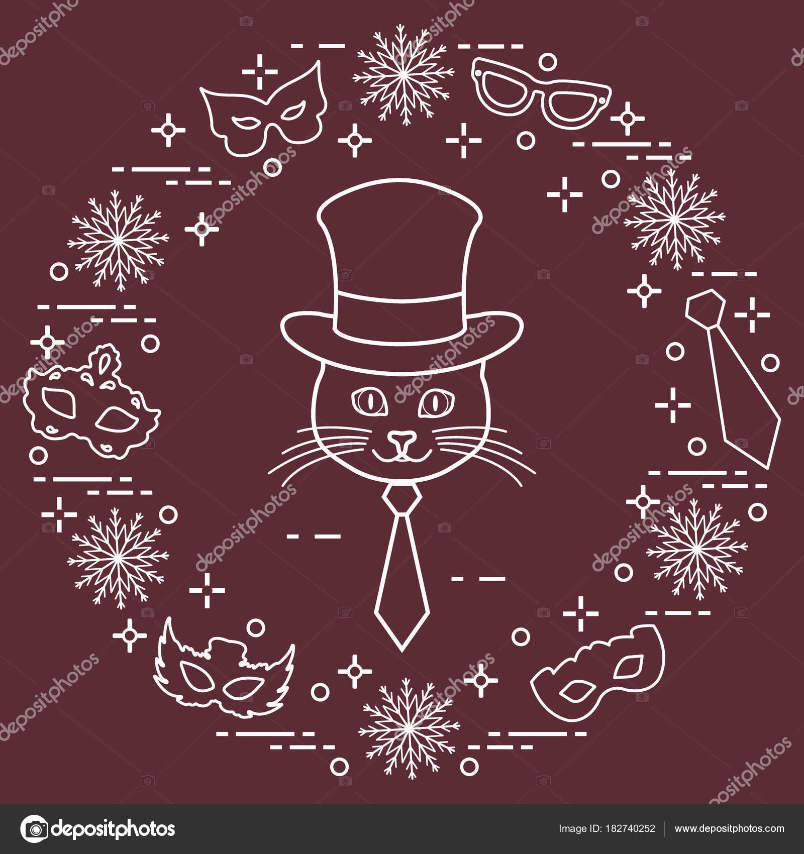 Hocico de un gato en un sombrero de cilindro y máscaras de carnaval ... 715c0322808