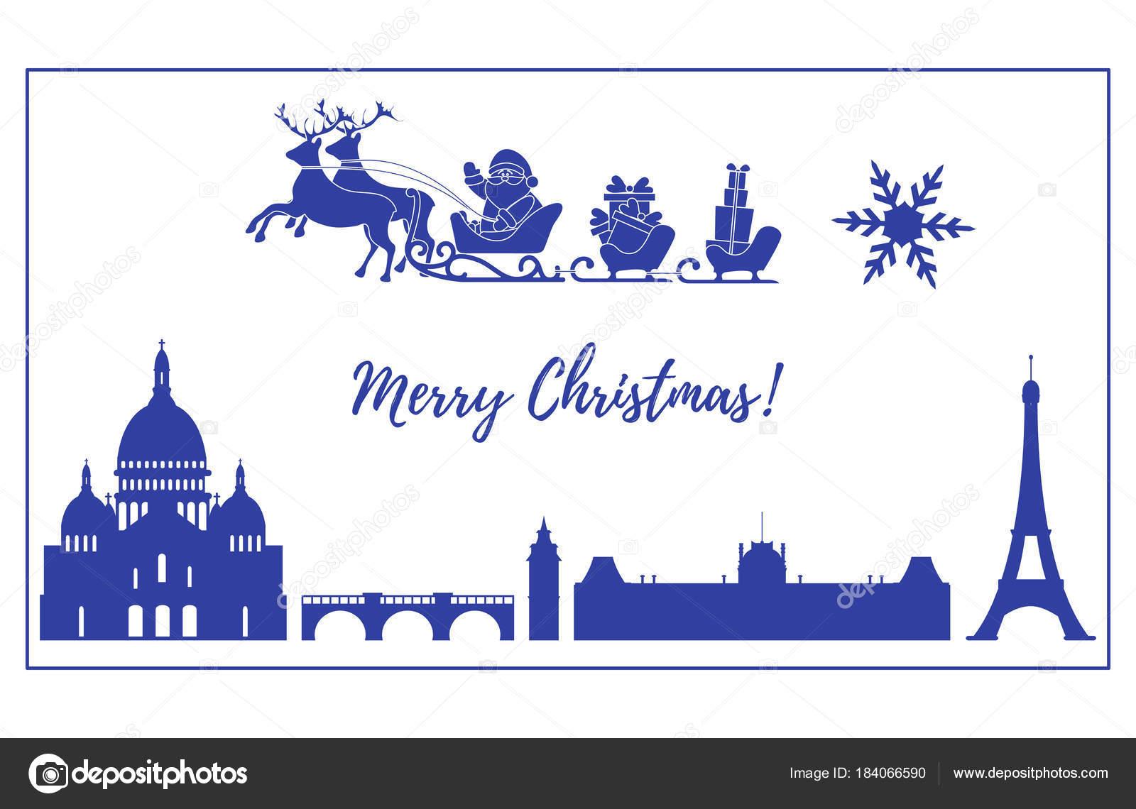 Weihnachtsmann im Schlitten mit Hirschen über Paris fliegen ...