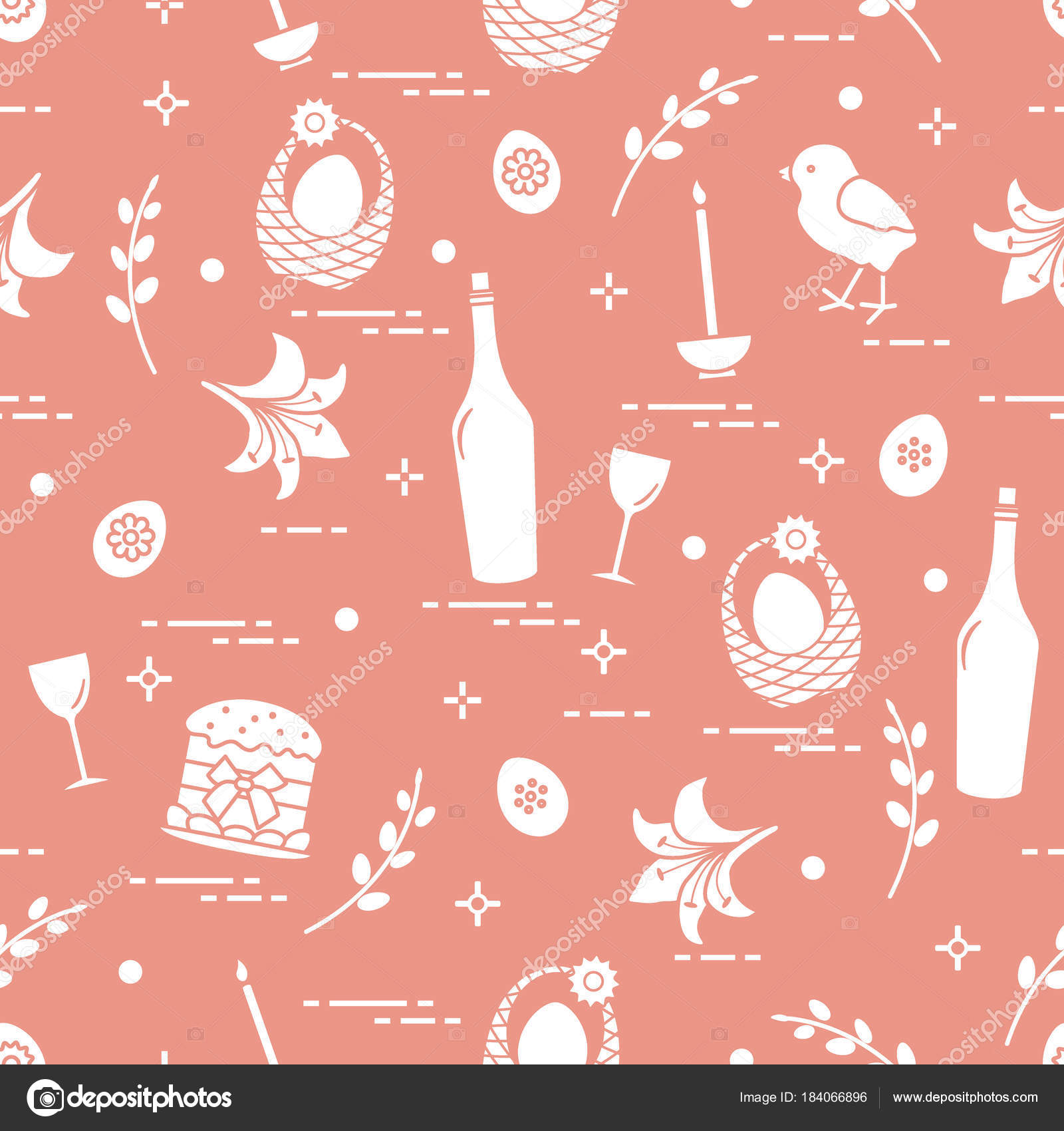 Muster Von Ostern Symbolen Ostern Kuchen Kuken Lilie Korbe Zb