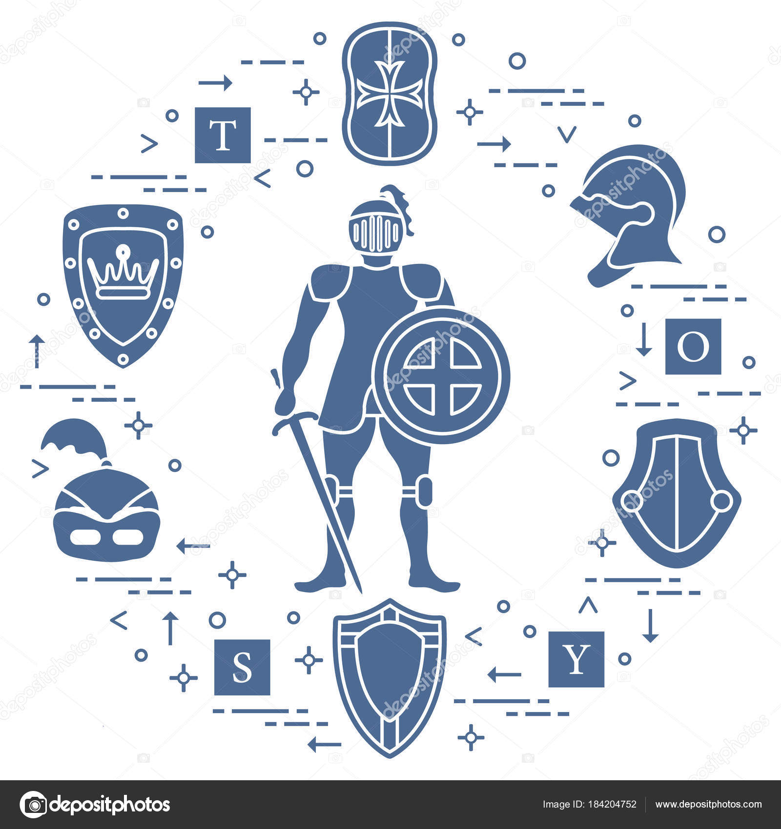 Knight, shields, swords, helmets, cubes. — Stock Vector © aquamarine ...