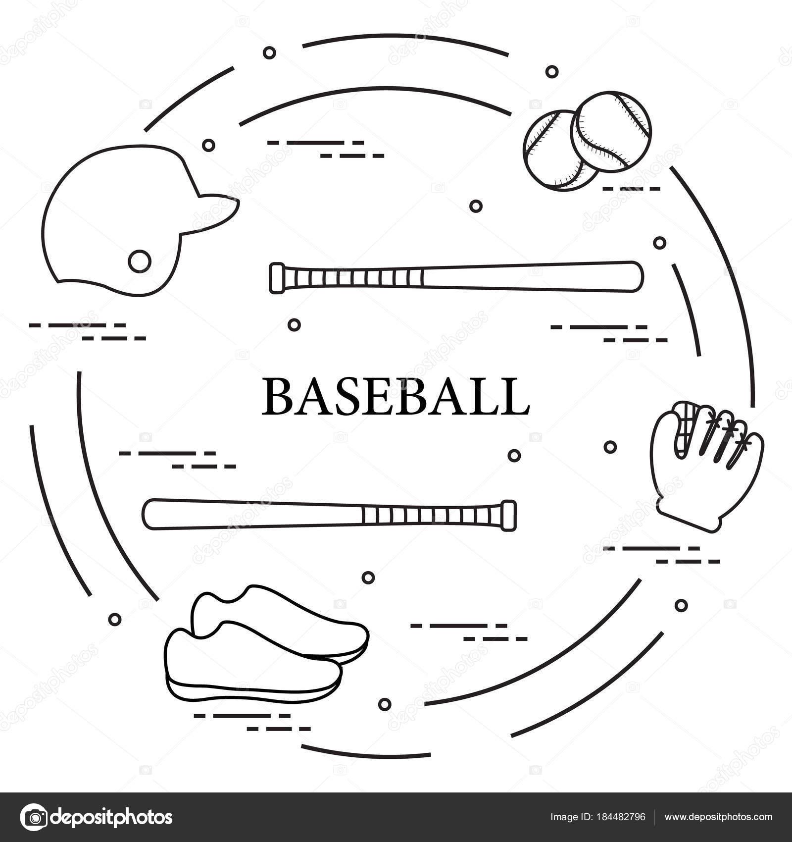 Bates de béisbol, guante, pelotas, casco, zapatos — Archivo Imágenes ...