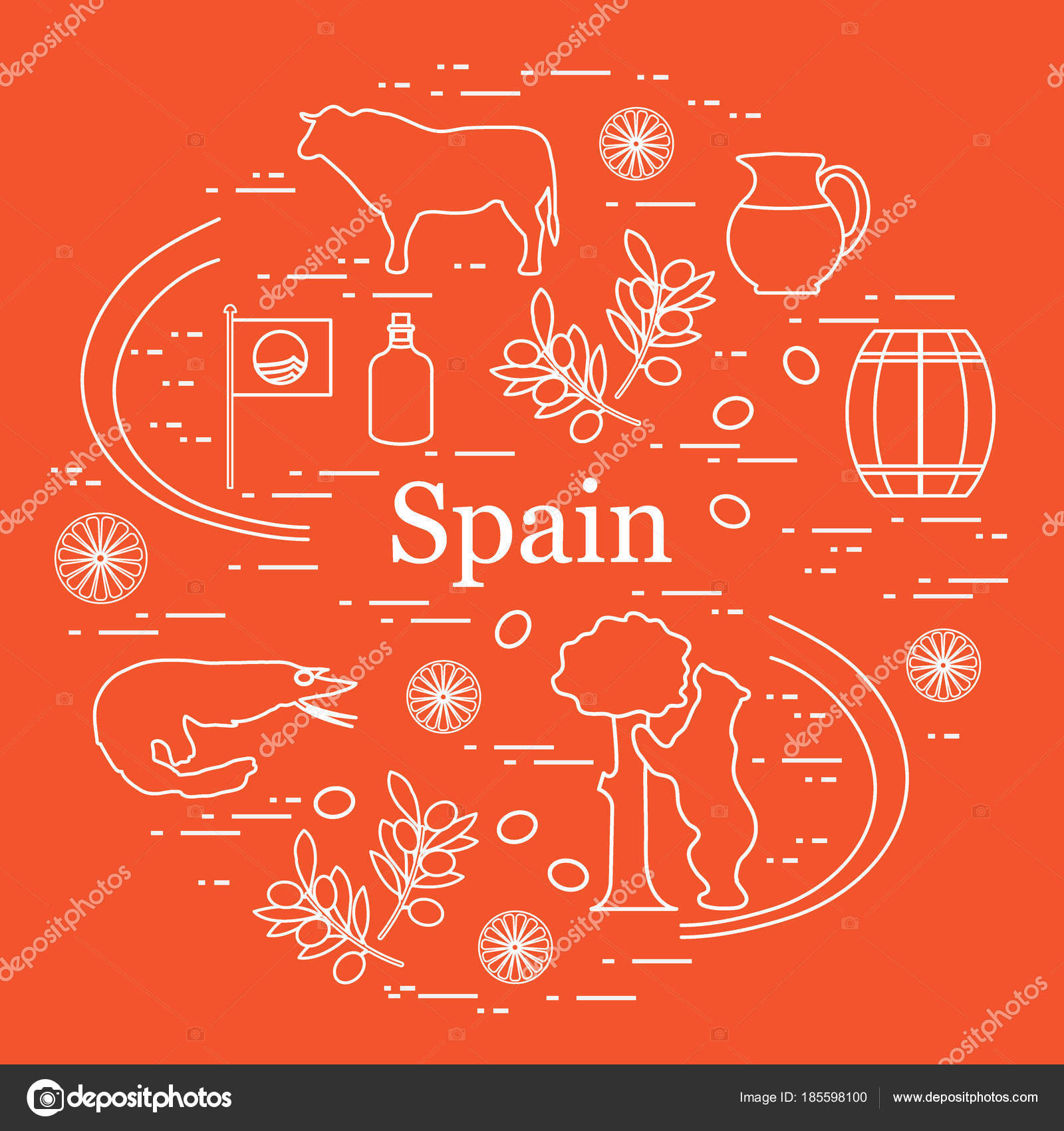 Vector illustration with various symbols of spain arranged in a vector illustration with various symbols of spain arranged in a stock vector buycottarizona Images