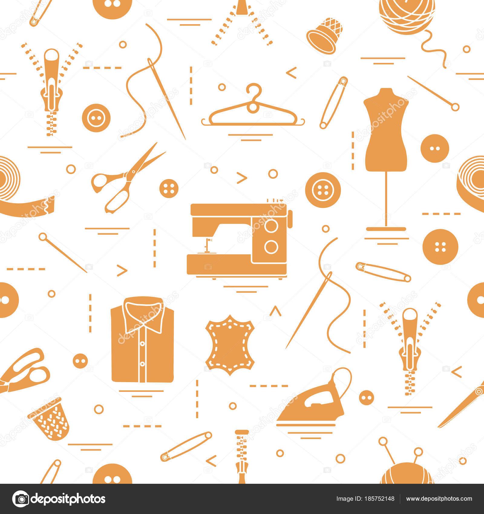 Muster mit Werkzeugen und Zubehör für das Nähen — Stockvektor ...