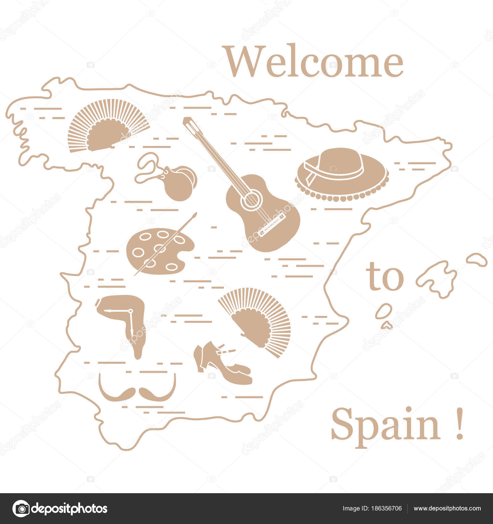 Vector illustration with various symbols of spain arranged in a vector illustration with various symbols of spain arranged in a stock vector biocorpaavc Gallery