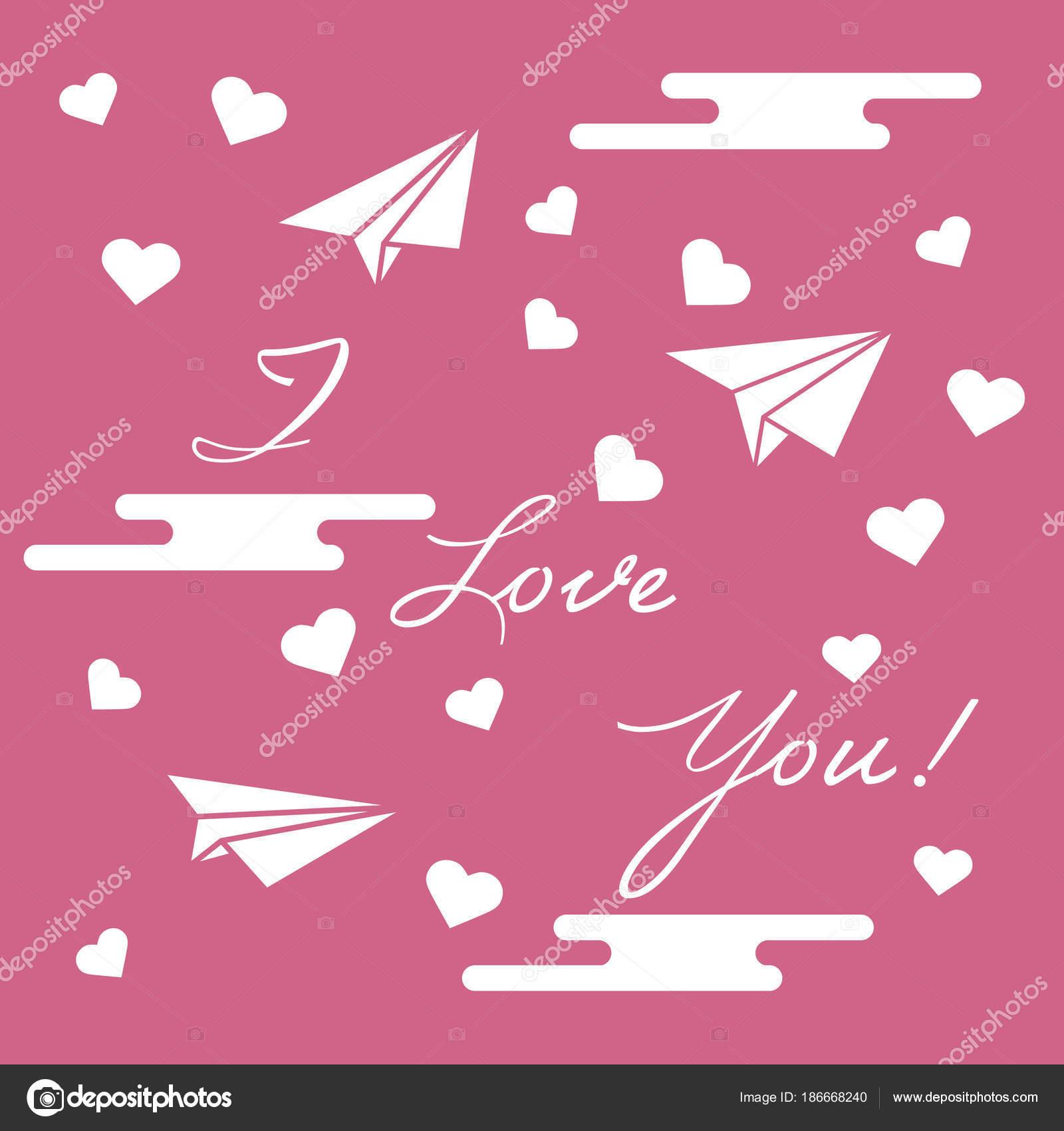 Papierflieger, Herzen, Wolken. Zum Valentinstag — Stockvektor ...