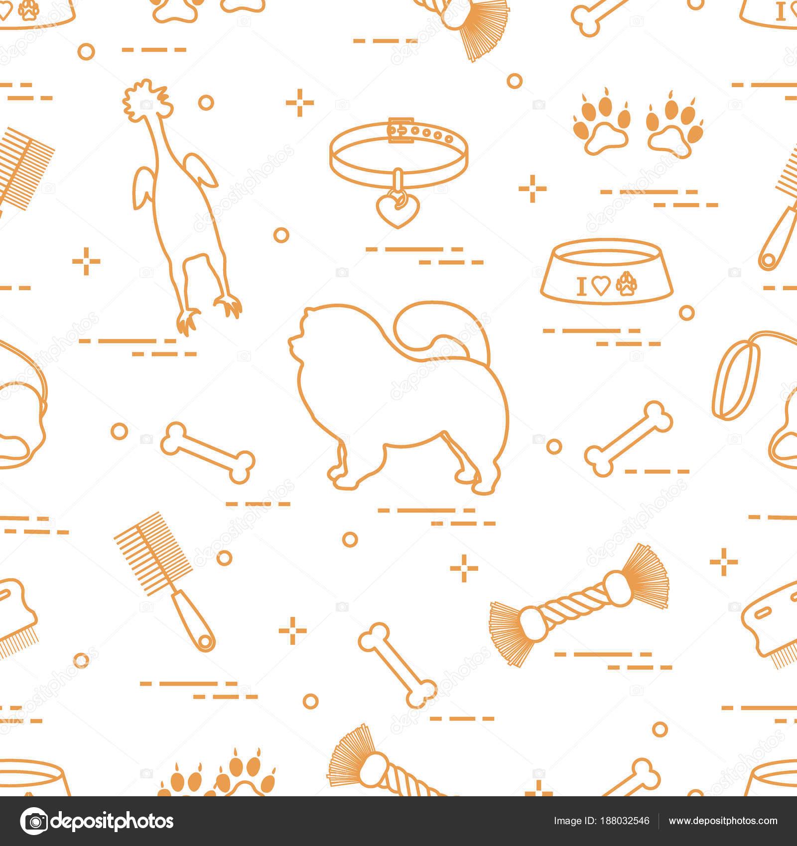 Muster der Silhouette Chow-chow Hund, Schüssel, Knochen, Bürste ...