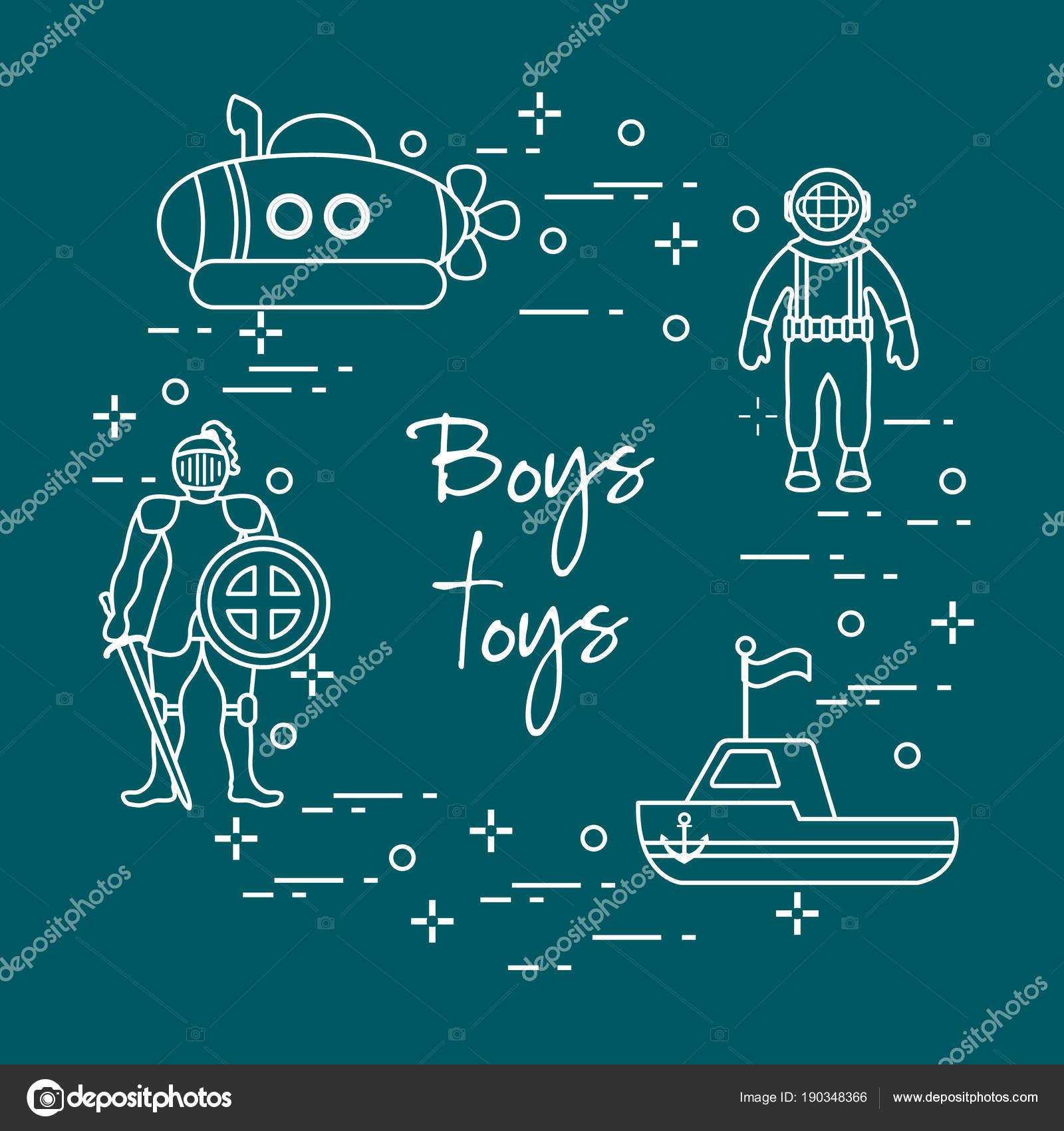 Knight, submarine, diver, ship. Children\'s toys. — Stock Vector ...