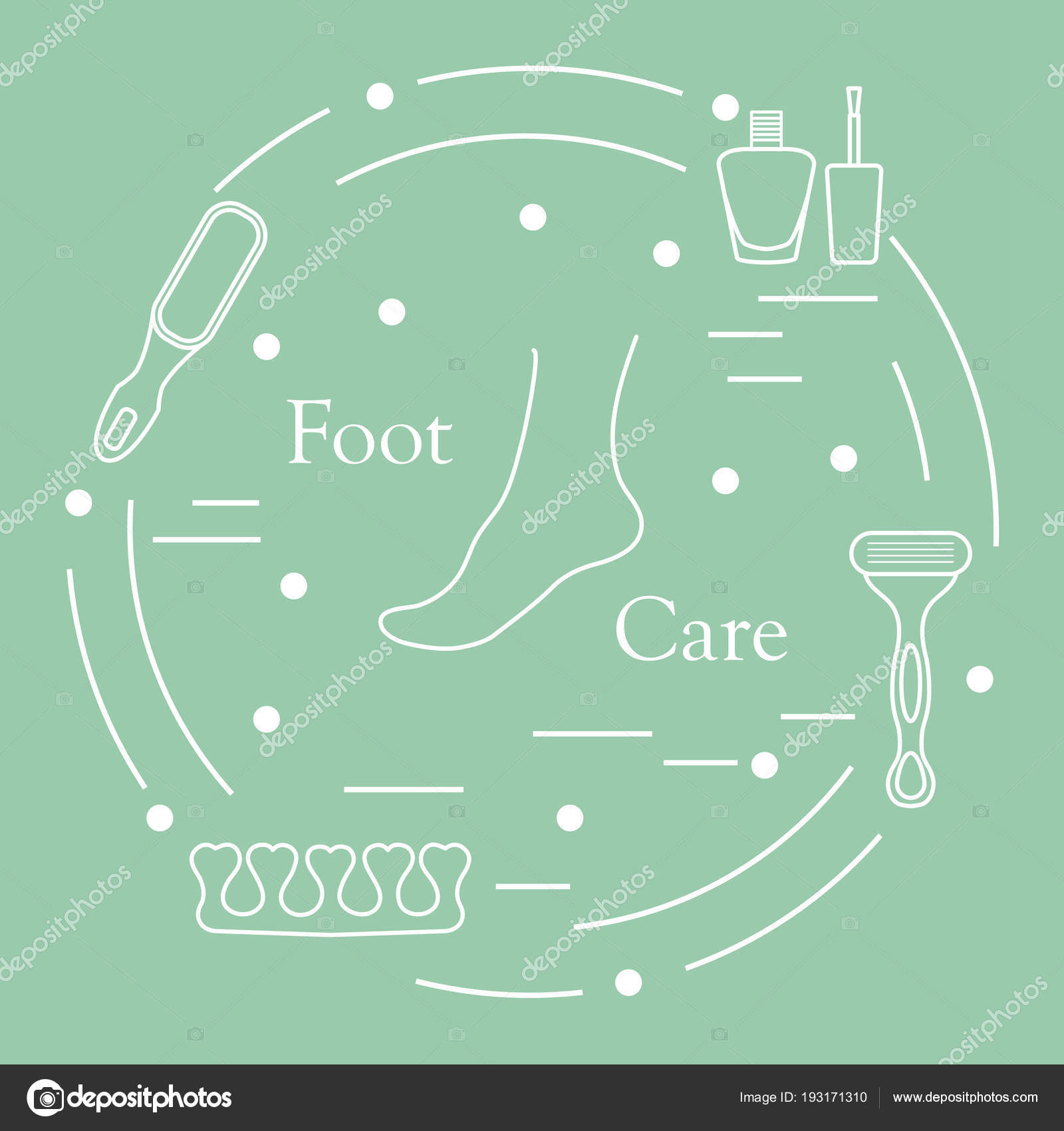 Pedicura herramientas y productos para belleza y cuidado — Vector de ...