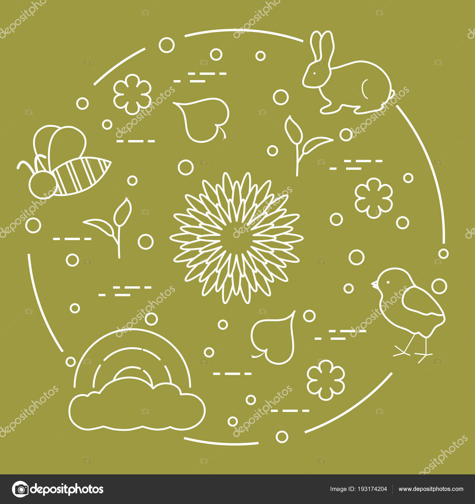 Arco iris, pollo, conejo, abeja. Tema primaveral — Vector de stock ...