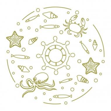 Wheel, fish, seashells, starfish, crab, octopus.